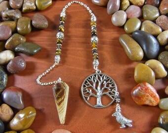 Aragonite Tree with Bird Pendulum - Aragonite Pendulum, Tree Pendulum, Tree of Life Pendulum, Bird Pendulum, Aragonite, Earthy Pendulum