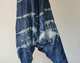 TD0007 Indigo Harem pants  Handmade pants, Thick Smock Waist Low Crotch, Women Yoga Harem Pants  - elastic waistband and cuffs - Fits all !