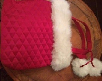 Holiday Christmas red fabric quilted bag with white fur trim
