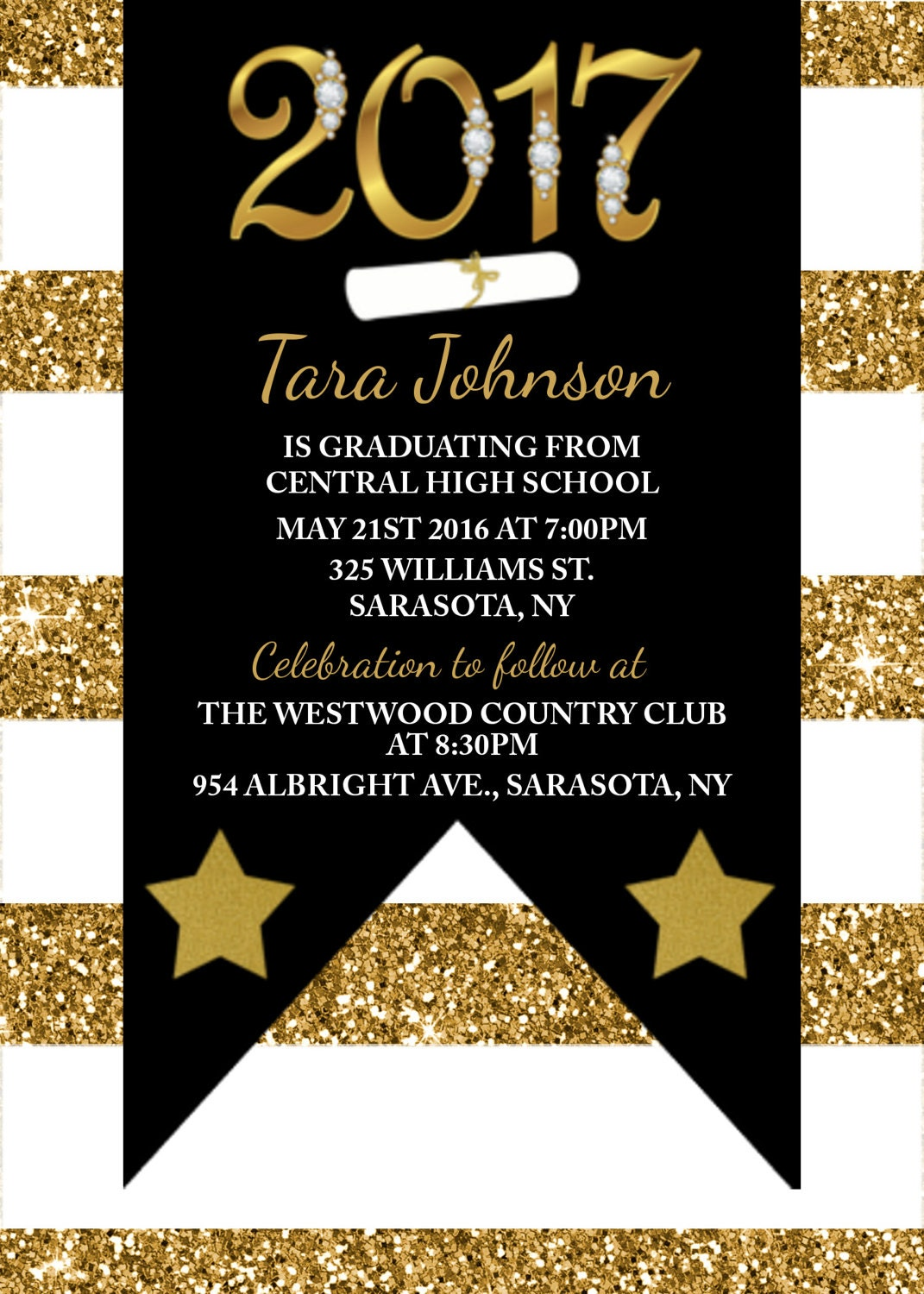 Glitter Graduation Invitation Graduation invitations Class of 2017 – Black and Gold Graduation Invitations