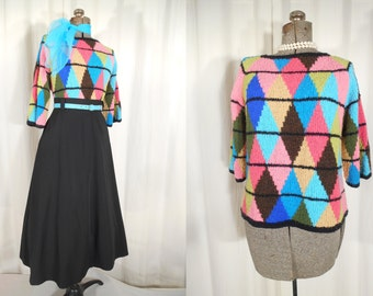 Vintage 1950s Sweater - Teal Pink Harlequin Pin Up Sweater, 50s Bombshell Pull Over Plus Size Sweater, High Waist Acrylic Sweater XL
