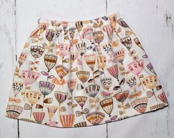 Boho Floral Skirt in Mauve, Girls Cotton Skirt, Tulip Print Girls Skirt, Knee Length Skirt, Toddler, Baby Skirt, Basics, Hudson in Brown