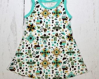 Penn Dutch Tank Dress, Girls Knit Dress, Mini Houses, Windmills and Birds in Beautiful Earth Tones, Pennsylvania Dutch Style Print