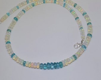 69.81ctw Fire Opal & Blue Apatite Sterling Silver Necklace