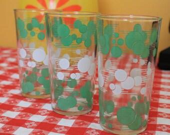 "Fun Set of 3 Retro Green/White Bubble Design Polka Dot Drinking Glasses ""Flying Dots"" by Hazel Atlas"
