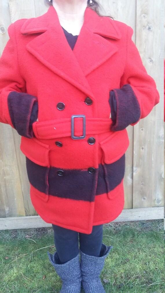 Vintage Hudsons Bay Point Blanket Jacket Coat Pea Double Breasted Car Red Black Stripe Belt Men Unisex Women Pocket Winter M L XL Holiday