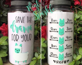 Save the drama for your LLAMA motivational water bottle with hourly tracker