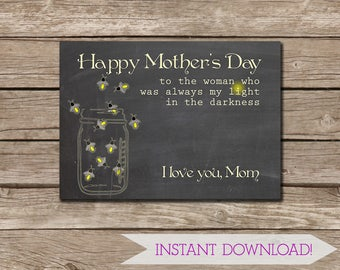 Chalkboard with Fireflies in a Mason Jar Small Mother's Day Card - Instant DIGITAL DOWNLOAD