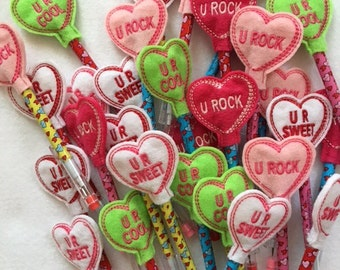 Ten Valentine Pencil toppers.  Party favors