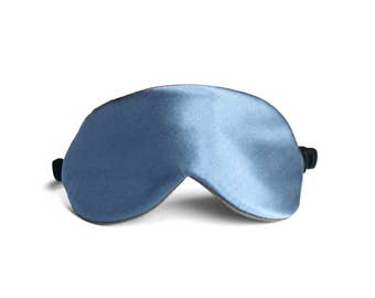 Reversible Silk Sleep Mask in Mineral Blue
