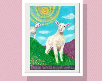 Nursury Wall Art - Lambs on the Hillside  Art Print  10 x14 Limited Edition - Sheep - Playroom Decor - Happy Kids Room - Sunny - Meadow -