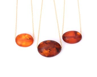 Amber bead necklace / raw amber necklace / baltic amber necklace / a matte oval amber bead on a 14k gold vermeil chain - MAO4