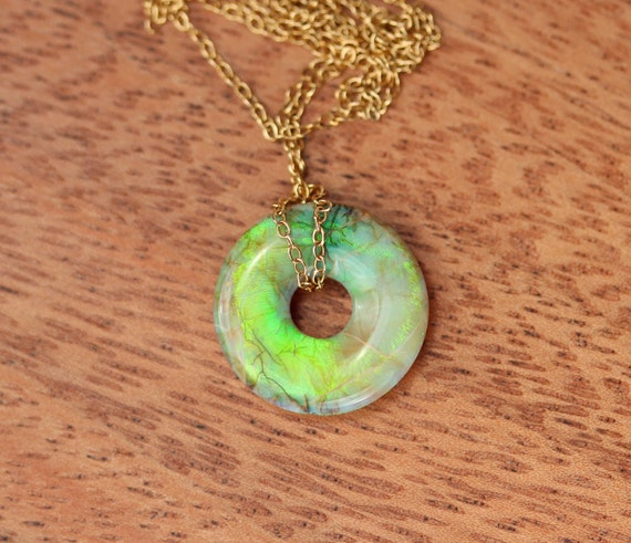 Sterling opal necklace - opal lifesaver necklace - cultured opal necklace - fire opal necklace - circle necklace - lifesaver necklace