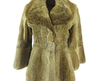 Vintage 80s City Furs Rabbit Fur Coat Womens M [H31X_3-13_Leather]