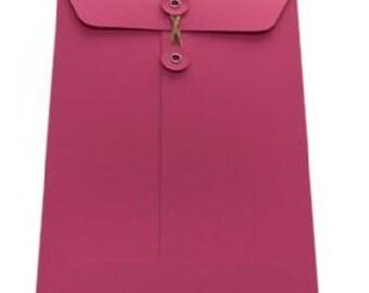String Tie Envelopes - Cerise x 10 (C5 size)
