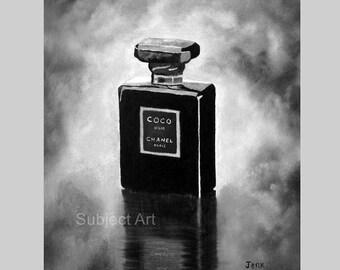 CHANEL Coco Noir Perfume Art Print, Black and White Edition, Fashion Gifts, Wall Art, Home Decor