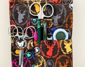 Wildlife Deer Antler Tool Belt Pouch Scrub Pocket Organizer Vet Tech Vet Doctor Nurse