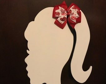 Heart girls hair bow - Valentines Day - red pinwheel bow - heart bow - toddler hair accessory - simple but cute bow
