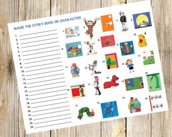 Book Baby Shower Game - Name The Story Book or Character - Sprinkle - Instant - Game - Digital - Fun - Party -Caterpillar - Mouse - Cat