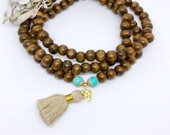Mala Necklace,Wood Mala Necklace,Mala,Tassel Mala,Yoga Necklace,Yoga Mala Necklace,Meditation necklace,108 prayer beads,Tassel necklace,NMWT
