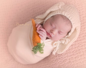 Handmade knit newborn bunny bonnet and fluffy bunny bottom diaper cover. made to order. sold separately OR in a set