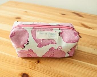 Pigs boxy zip bag-Small