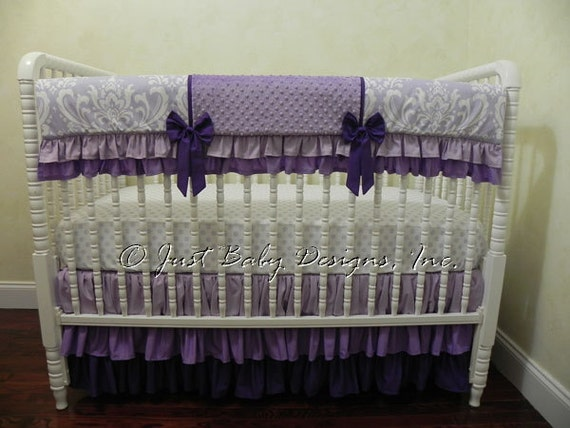 Purple Crib Bedding Set Hermione Girl Baby Bedding