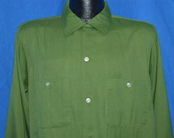 50s Green Rayon Rockabilly Shirt Medium