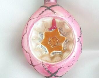 Vintage Christmas Ornament, Pink Christmas Ornament, Reflector Christmas Ornament, Indent Christmas Ornament, Poland Indent Ornament