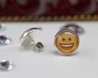 Earrings Smile Emoji, yellow and silver, paradis des bijoux