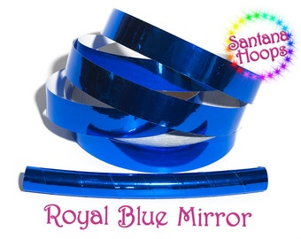 Royal Blue Mirror Taped Performance Hula Hoop Polypro or HDPE