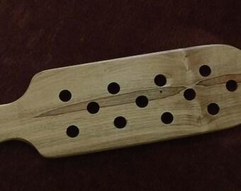 Rustic wood spanking paddle, OTK paddle, butt warmer, wood paddle. wood spanking paddle