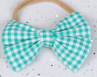 Turquoise Gingham Bow & Bow tie