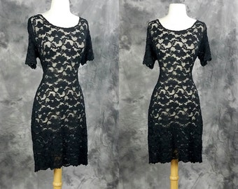 Sheer black lace dress, short sleeve, scoop neck, body con Michi collection dress, large