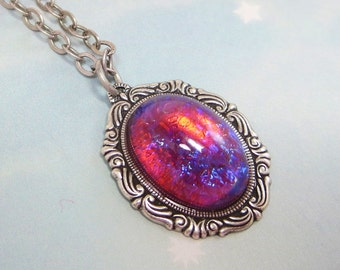 Mexican Opal Necklace Dragon's Breath Necklace Fire Opal Pendant Jewelry Victorian Goth