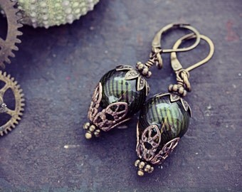 Balloon Earrings Hot Air Balloons Absinthe Green Steampunk Glass Bead Dangle Around the World in 80 Days Neo Victorian Airship Jewelry