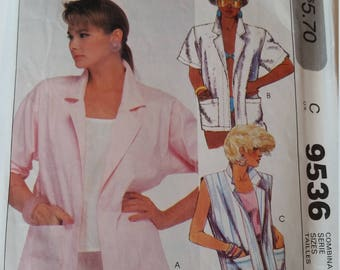 Vintage Easy McCall's Sewing Pattern 9536 Misses' Jacket in Sizes 6, 8, 10