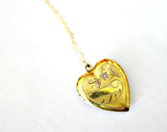 Vintage Gold Heart Locket, Gold Filled Heart Locket
