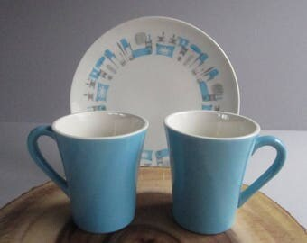 Royal China Blue Heaven  2 Solid Blue Mugs -  Made in USA-