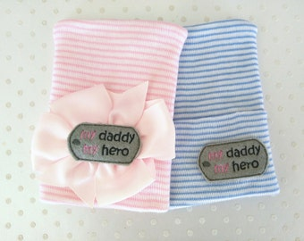 Newborn Hospital Hat with Boutique Bow dog tag my Daddy My Hero emblem-baby girl dog tag hat-baby boy dog tag hat-newborn military hat