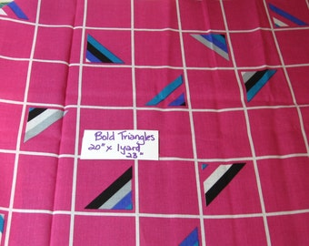 "Mod, bold fabric, triangles, 20"" x 1 yard 23"" , cotton, quilting, sewing, supplies, vintage Bold Triangles)"