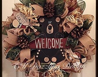 Welcome Bear Cabin Deco Mesh Wreath/Personalized Canin Wreath/Bear Wreath/Cabin Wreath/Customized Cabin Wreath