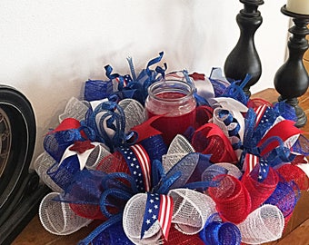 4th Of July Deco mesh candle arrangement/patriotic candle arrangement/Red white and blue candle arrangement