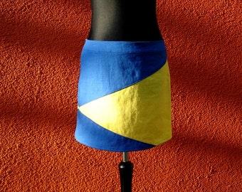 Women's skirt in blue yellow from linen skirt women blue yellow linen