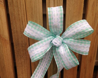 Turquoise gingham and lace Bow plaid ribbon Chair Pew summer wedding gift bows garland spring decoration
