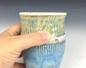nautical ceramic cup, ceramic tumbler, wheel thrown cup, ocean pottery, ocean waves, water