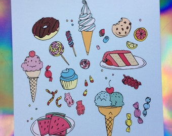 Sweets & candy postcard - Lovestruck prints