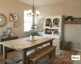 Harvest Farm Table - Bench Included, custom stained