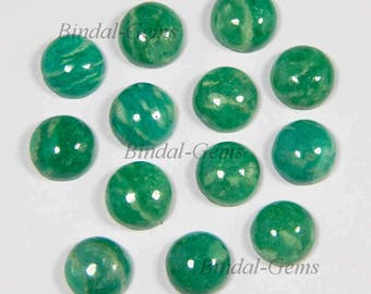 25 Pieces Lot Amazing Natural Amazonite Round Shape Smooth Polished Gemstone Cabochon