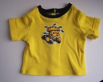 Upcycled Wichita State University T Shirt - fits 18 inch boy and girl dolls